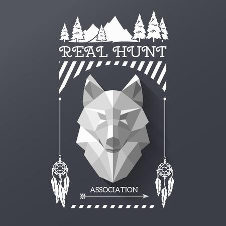 Real jacht met het hoofd van de wolf in het centrum van het etiket. Veelhoekige wolf en het bos zingen. Hunter vereniging etiket. illustratie