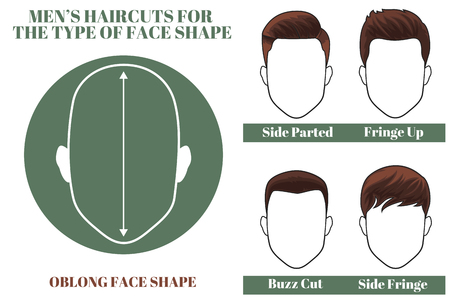 man haircut: Hairstyles for oblong face shape of man. illustration Illustration
