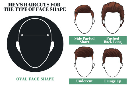 haircuts: Mens haircuts. Hairstyles for oval face shape of man. illustration