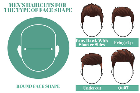 os: Different types of haircuts for round face shape os man. illustration