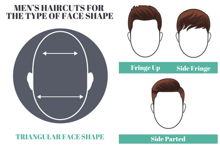 haircuts: Different types of haircuts for triangular face shape os man. illustration