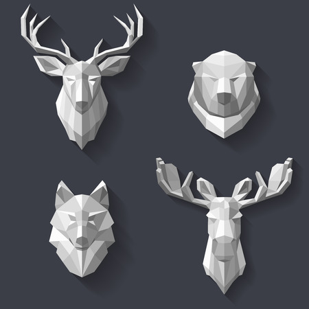 The heads of the forest animals are hanging on the wall. Head of white polygons. Abstract animals. The hunting trophies in the polygonal style. illustration Illustration