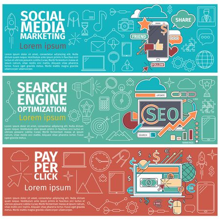 klik: Flat concept van de Social Media Marketing, Search Engune optimazation, Pay Per Click. Lijntekeningen pictogrammen Innovatie en oplossing. Flat business idee. digitale illustratie Stock Illustratie