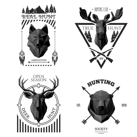 Hunting head labels. Origami animals in the center . Hunting society label. Polygonal illustration