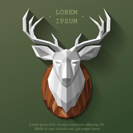animal head: Animal polygonal head. Deer head illustration. Animal head on the wall Illustration