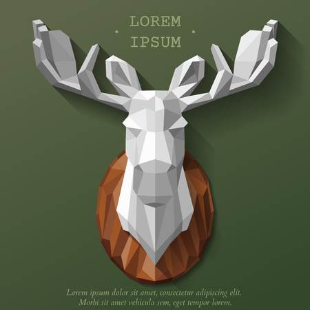 moose hunting: Polygon elk. Moose head on the wall. Hunting trophy. illustration