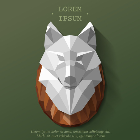 white wolf: Polygonal head of wolf. illustration. The hunting trophy on the wall Illustration