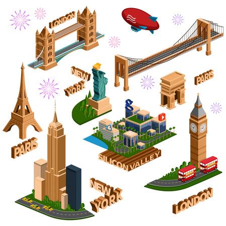 ニューヨーク、ロンドン、パリ、シリコン バレーの等尺性の有名な建物のセット。図