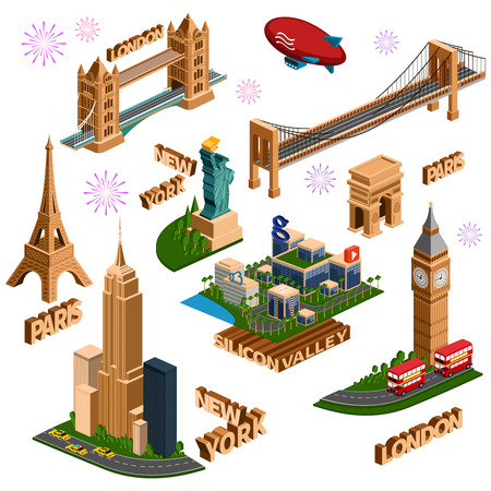 A set of isometric famous buildings in New York, London, Paris, Silicon Valley. illustration