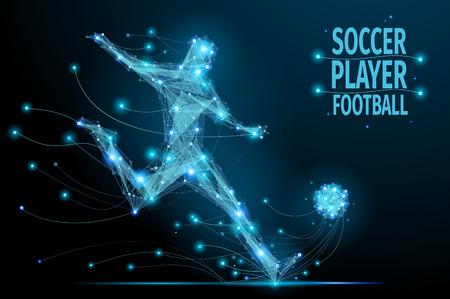Bajo jugador poli fútbol golpea el balón en movimiento. futbolista poligonal. jugador de fútbol azul poligonal abstracto.