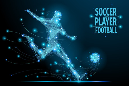 abstract shape: Low poly soccer player hits the ball in motion. Polygonal footballer. Abstract polygonal blue football player. Illustration