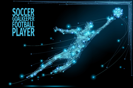 Thin line soccer player in motion from blue polygonal. Football goalkeeper jumping after the ball. Abstract poly illustration