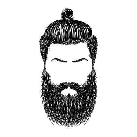 残忍な髪型と髭。 流行に敏感なあごひげを生やした。図