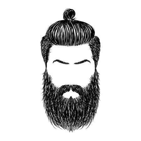 beard man: brutal hairstyles and beard.  Hipster bearded man. illustration