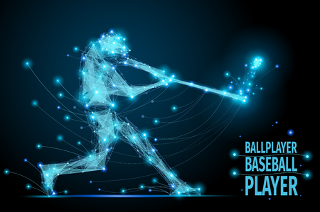 ballplayer: Polygonal ballplayer in motion from flying debris. Bacseball abstract concept vector mesh spheres. Futuristic technology style.
