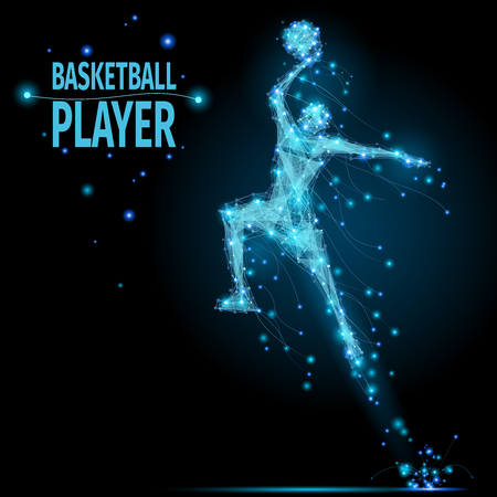 jumps: Abstract basketball player in motion with cybernetic particles. Vector mesh spheres from flying debris. Basketball man jumping polygonal thin line concept.