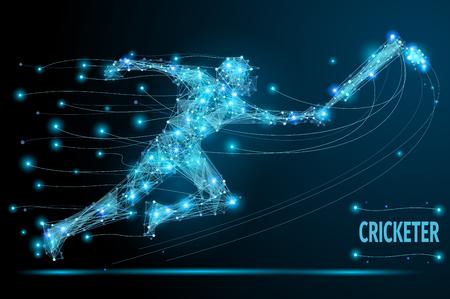 Cricketer veelhoekige dunne lijn. Abstract begrip vector beeld van de lopende mens voor cricket competitie Creative. Vector mesh bollen van rondvliegend puin. Futuristische technologie stijl. Stock Illustratie