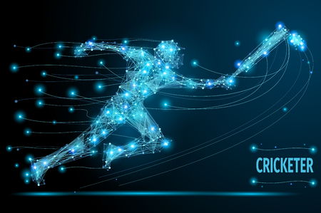 hombre flaco: Jugador de cricket delgada línea poligonal. imagen del concepto del vector abstracto creativo del hombre corriente para la competición de cricket. esferas de malla vector de escombros. la tecnología de estilo futurista.