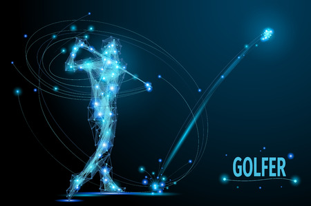 hits: Golfer hits the ball in motion. Polygonal  golf player from futuristic shape. Thin line vector abstract polygonal blue. Wireframe cybernetic particles mesh.
