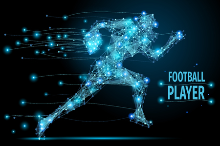 Abstract running footballer with cybernetic particles. Polygonal digital background. Point and curve constructed the football player silhouette wireframe. Иллюстрация