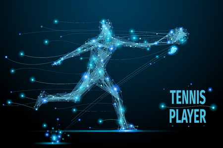 cybernetic: Abstract tennis player in motion with cybernetic particles. Blue triangle thin line mesh spheres. Futuristic technology style.