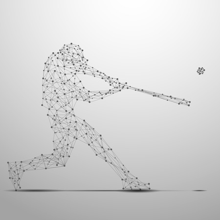 Abstract ballplayer with cybernetic particles. Polygonal digital background. Point and curve constructed theballplayer silhouette wireframe.