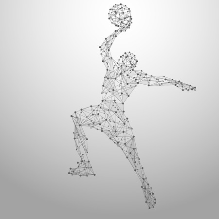 basketball shot: Thin line basketball player in motion from blue polygonal. Basketball player jumping with the ball. Abstract poly illustration Illustration
