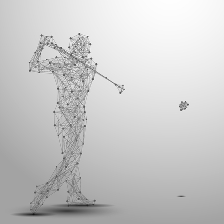 cybernetic: Abstract golfer in motion with cybernetic particles. Gray triangle thin line mesh spheres. Futuristic technology style.