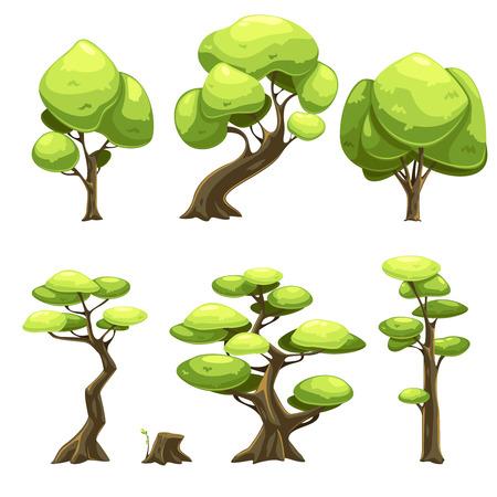 arboles caricatura: Conjunto de árboles de la historieta para los juegos en red. Ilustración del vector. Conjunto de diversos árboles para crear un fondo para el juego. Árboles para la ilustración de libros. Vectores