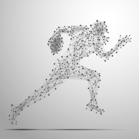 cybernetic: Abstract football player in motion with cybernetic particles. Vector mesh spheres from flying debris. Footballer running polygonal thin line concept.