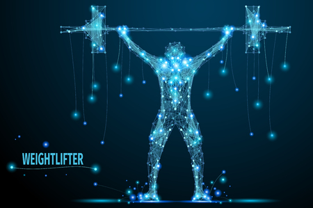 weightlifter: Abstract weightlifter with cybernetic particles. Polygonal digital background. Point and curve constructed the weightlifter silhouette wireframe.