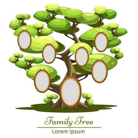 Familienstammbaum. Illustration der Cartoon-Stil. Baum mit foto. Vektorgrafik