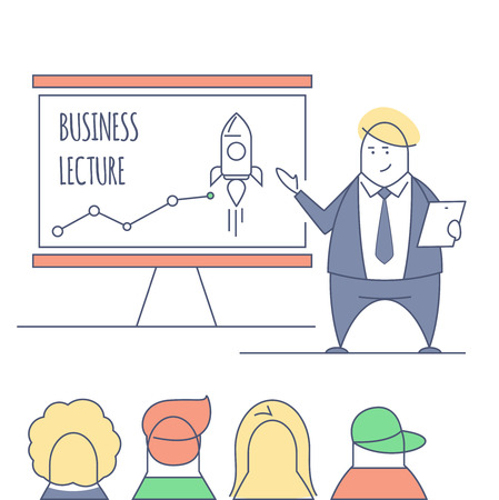 conducting: Line art businessman conducting business lecture, standing in front of the board with the inscriptions. Doodle stylized thin line illustration. Flat color lined concept. Business training.
