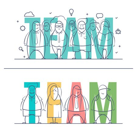 consept: Thin line set of stylized business people of words team. Doodle drawn style illustration. Minimal style of consept. Isolated teamwork concept on white background