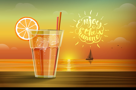 clang: Cold drink with ice and slice of orange on the glass on the sunset background and boat with sails on the horizon. Enjoy the summer lettering on the orange yellow background. illustration Illustration