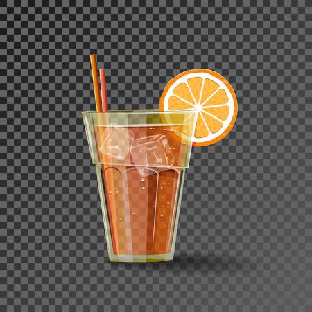 Koud oranje drankje met ijsblokje en een schijfje sinaasappel op het glas en twee coctails.