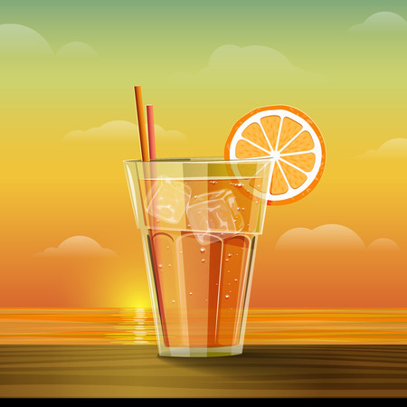champers: Glass with lemonade at sunset. Summer cold drink with slice of orange and ice cube. Summer sea and sunset background. Vector illustration.