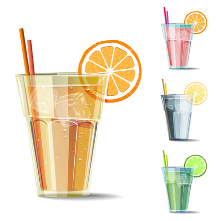 cold drink: Set of isolated cold drink with citrus. Summer vector illustrations