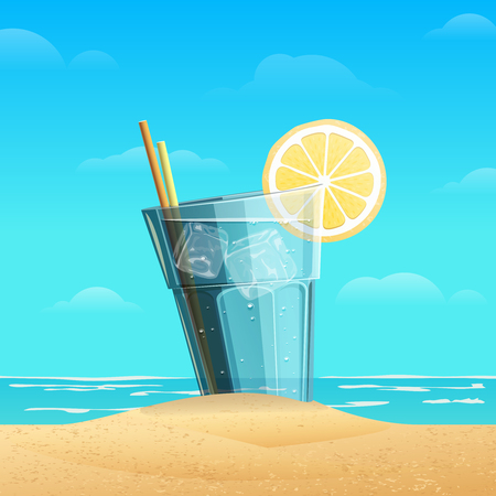 beverage: Glass with lemonad with slice oflemon on sea background. Cold drink with ice cube on the sand.