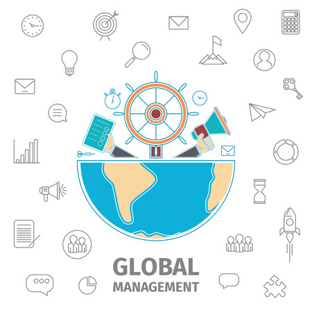 art show: Global Management Conception. Analogies show management in the form of a steering wheel of the ship, horn in hand, diary in hand. Half of the Earth. Line art vector illustration. Flat Global business Illustration