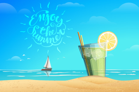 sea horizon: Summer conception. Glass with cold drink with ice cube and slice of lemon. Boat on the horizon. Lettering Enjoy the summer. Summer vector illustration. Sea and blue sky on the background.