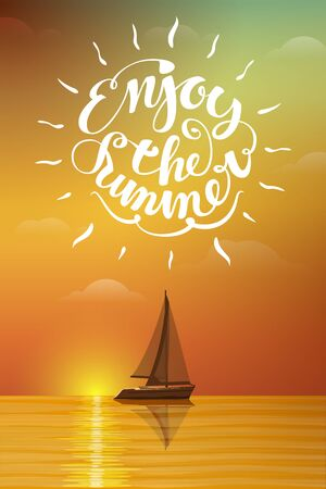 water animal bird card  poster: Boat at sunset with lettering. Summer vector illustration