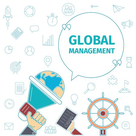 hand globe: Thin line flat management concept. Global business vector illustration. Loudspeaker in hand, globe and the wheel.