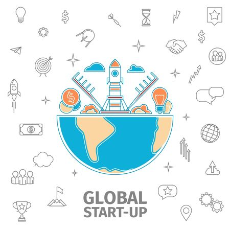 spaceport: line art global startup concept. Flat thin line Global business vector illustration. Spaceport with soaring rocket. The idea and the money
