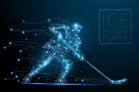 Blauer polygonaler abstrakter Eishockeyspieler. Bluesspieler von futuristischer Form. Dünne Linie kybernetischer Stil der Sportlersilhouette. Körperenergie-Low-Poly-Sportmann in Bewegung.