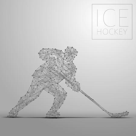 Giocatore di hockey su ghiaccio astratto poligonale. Giocatori di hockey dalla forma futuristica. Stile cibernetico di linea sottile della silhouette di sportivi. Uomo sportivo low poly di energia del corpo in movimento.