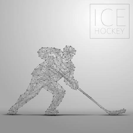 Polygonal abstract ice hockey player. Hockey players from futuristic shape. Thin line cybernetic style of sportsmen silhouette. Body energy low poly sports man in motion.