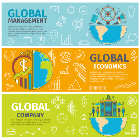 innovation concept: Flat concept banners of Global management, economics, company. Line art icons Innovation and solution. business idea. Three banners.