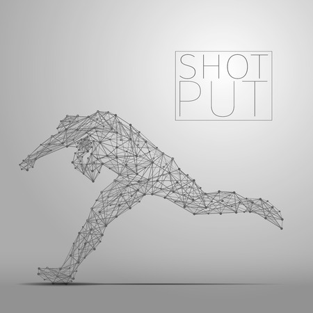putter: Abstract shot putter with cybernetic particles. Polygonal digital background. Point and curve constructed the shot putter silhouette wireframe.