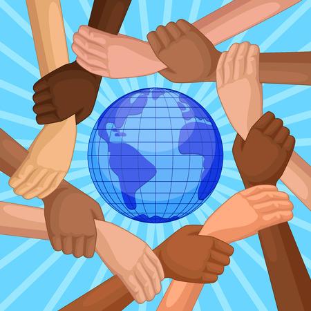 planeta tierra feliz: Las personas de diferentes razas de la mano alrededor del planeta tierra. vista desde arriba de las manos de los diferentes colores de piel. Concepto internacional día feliz de la amistad. Vectores